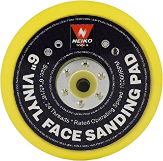 "Neiko 30262A 6"" Vinyl Face Sanding and Backing Pad, 5/16 Inch 24 Thread Mount Disc 
