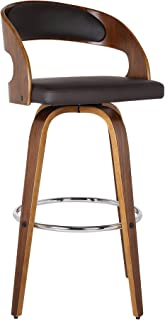 "Armen Living LCSHBABRWA26 Shelly 26"" Counter Height Barstool in Brown Faux Leather and Walnut Wood Finish"