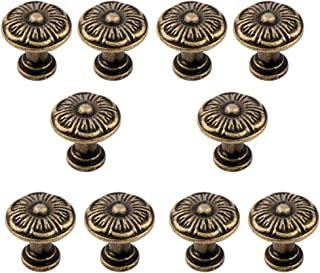 CJLDD 10Pcs Handles Knobs Pendants Flowers for Drawer Wooden Jewelry Box Furniture Hardware Bronze Tone Handle Cabinet Pulls
