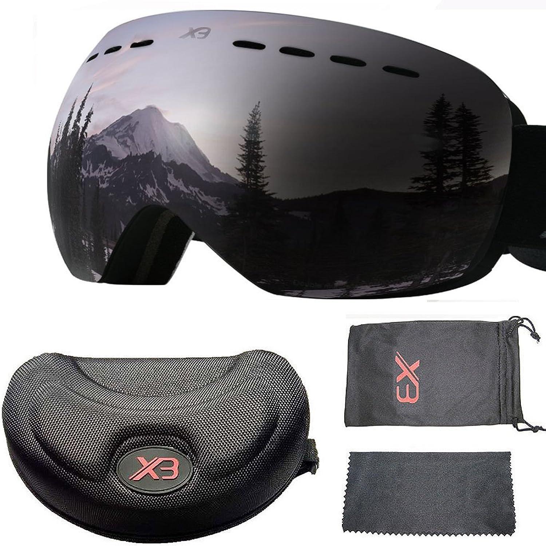 Huntiger Ski Goggles OTG Snowboard Goggles 100% UV Predection Snow Goggles Anti-Fog, Helmet Compatible Interchangeable Lens for Men Women Skiing Snowmobile Skating