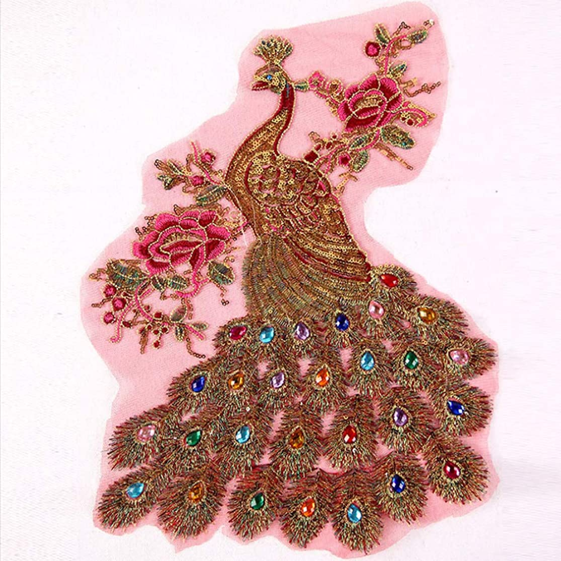 Handmade Embroidery Red Peacock Sew on Rhinestones Sequins Beads Applique Patches Phoenix Wedding Dress Accessory Sewing Crystal Decor for Evening Dress sfqrgqed1