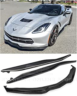 Replacement For 2014-2019 Corvette C7 | Z06 Stage 2 CARBON FIBER Front Bumper Lower Lip Splitter & Side Skirts Rocker Panel Pair