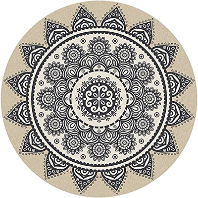 Round Rug Complex Retro Ethnic Style Floral Pattern Sofa Living Room Dining Room Bedroom Rug, 3 Colors, 4 (Color : Black, Size : 140cm)