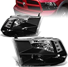 For Dodge Ram Pair of Black Housing Clear Corner Quad Headlight Lamp - 4th Gen DS/DJ/D2
