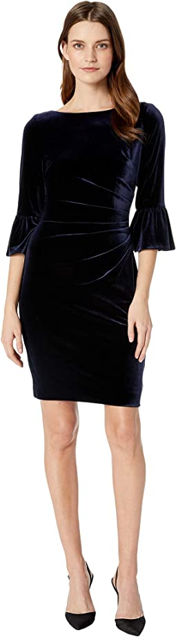 Velvet Side Draped Dress with Low Back and Flounce Sleeve