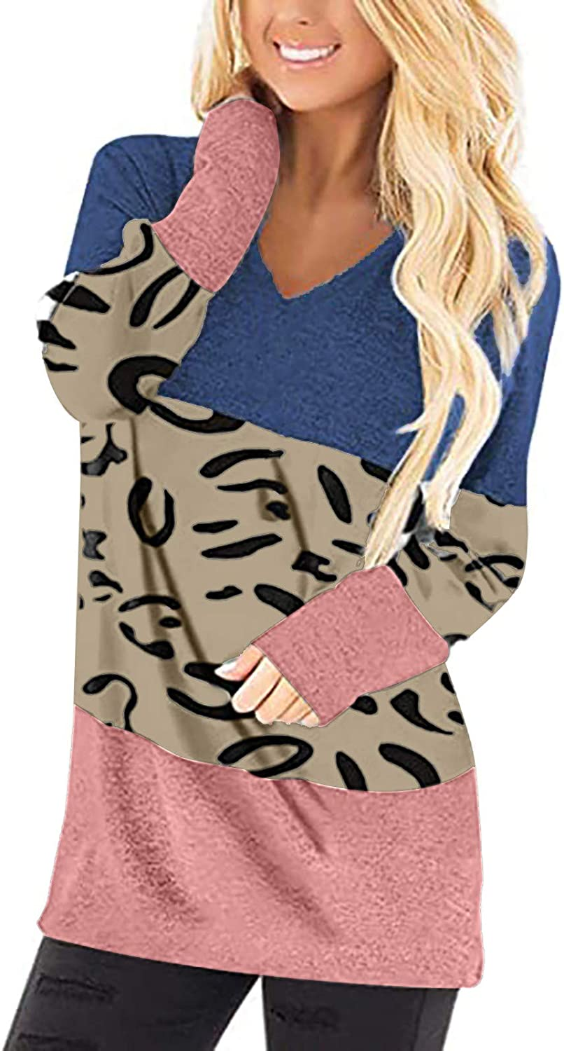 COOKI Tunic Tops for Women Colorblock New Free Shipping Cheap mail order sales Sleeve Shirt Long Neck V T