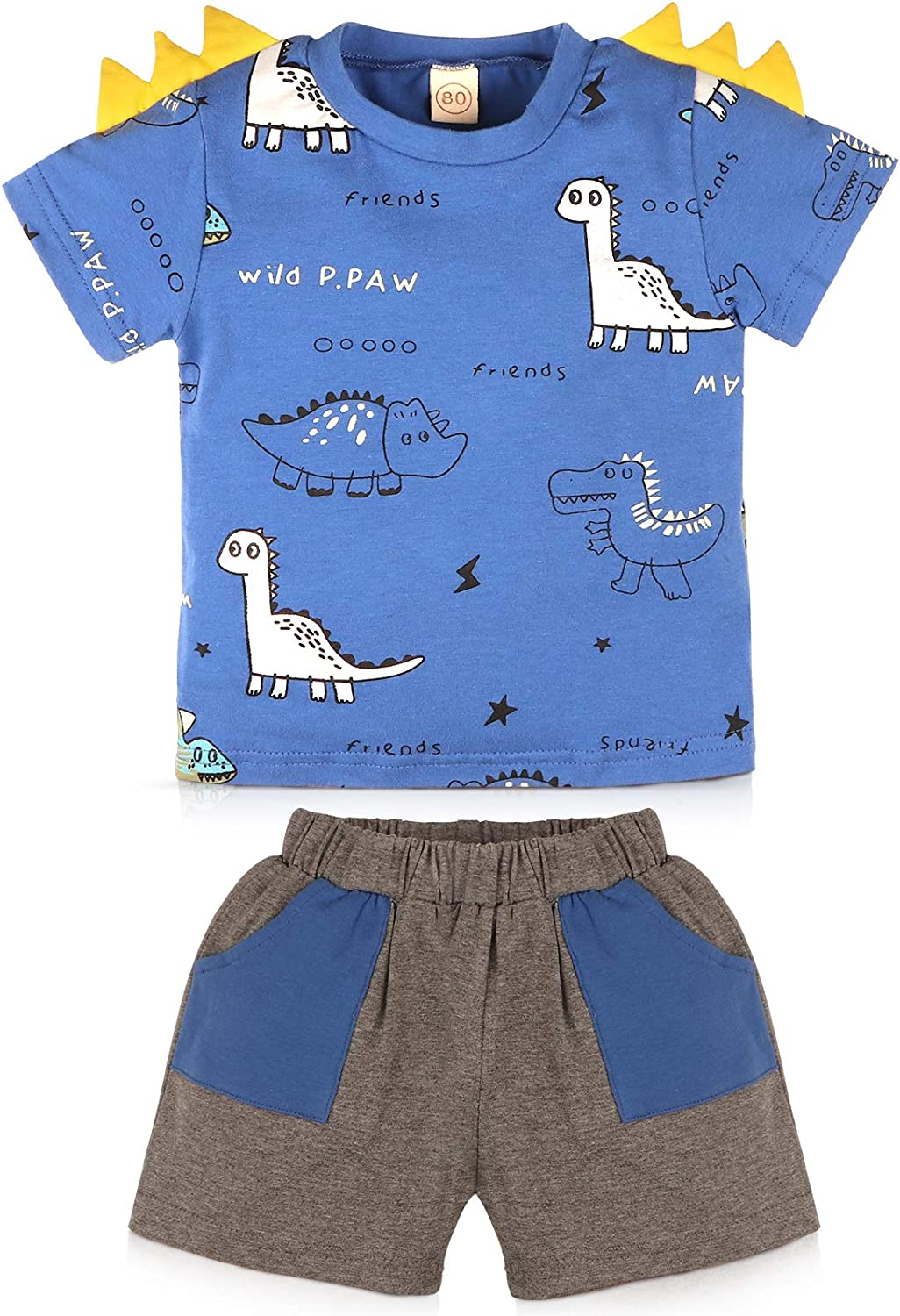Leccod Toddler Baby Boy Spring Summer Clothes Outfits Short Sleeve Dinosaur T-Shirt Top and Pants Set
