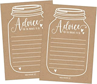25 Rustic New Parent Advice Cards For Baby Shower Game Activities Ideas, Expecting Mommy Words of Wisdom Messages for Parents To Be Boy Girl Co-Ed Couples Gender Reveal Keepsake Alternative Guestbook