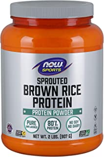 NOW Sports Nutrition, Sprouted Brown Rice Protein, 80% Protein, Unflavored Powder, 2-Pound