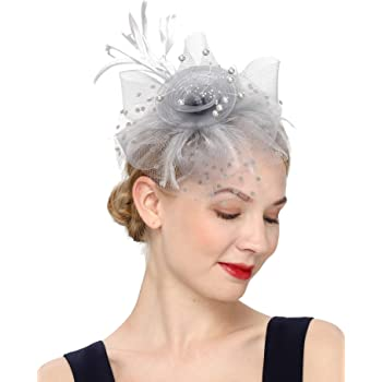 Slate Grey Feather Fascinator..rosette on a headband..for wedding races.crystals