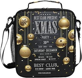 Sac à déjeuner isotherme de Noël avec boules dorées sur fond noir, carré, portable, grande capacité, pour voyage, pique-ni...