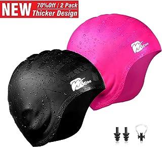 Wigoo Long Hair Swim Cap 2 Pack, 2019 Thicker Design,...