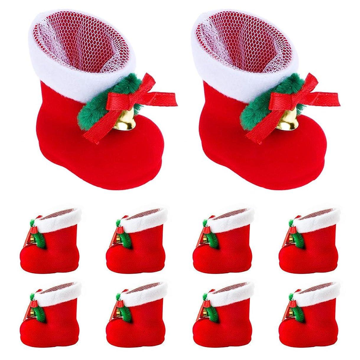 蓮すばらしいですラウンジクリスマスブーツ お菓子入り 10個セット 長靴 サンタブーツ キャンディ靴 お菓子 クリスマスブーツ お菓子入り 10個セット 長靴 サンタブーツ キャンディ靴 お菓子 子供 かわいい レッド