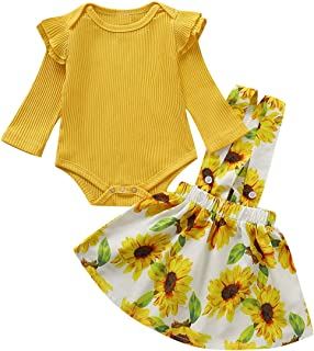Camidy Newborn Baby Girl Toddler Long Sleeve Romper Sunflower Strap Skirt Outfits Set