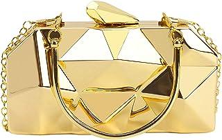MEGAUK Damen Geometrische Metall Clutch Abendtasche mit Kette für Hochzeit Wedding Ball Bankett Prom Party