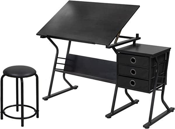 Drafting Craft Set Adjustable Height Backless Top And Spacious Storage Drawers Durable Steel Base Ideal For Home Office Art And Craft Furniture Black Color Expert Guide