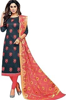 Ladyline Womens Formal Silk Embroidered Salwar Kameez Banarasi Silk Dupatta Ready to wear Salwar Suit