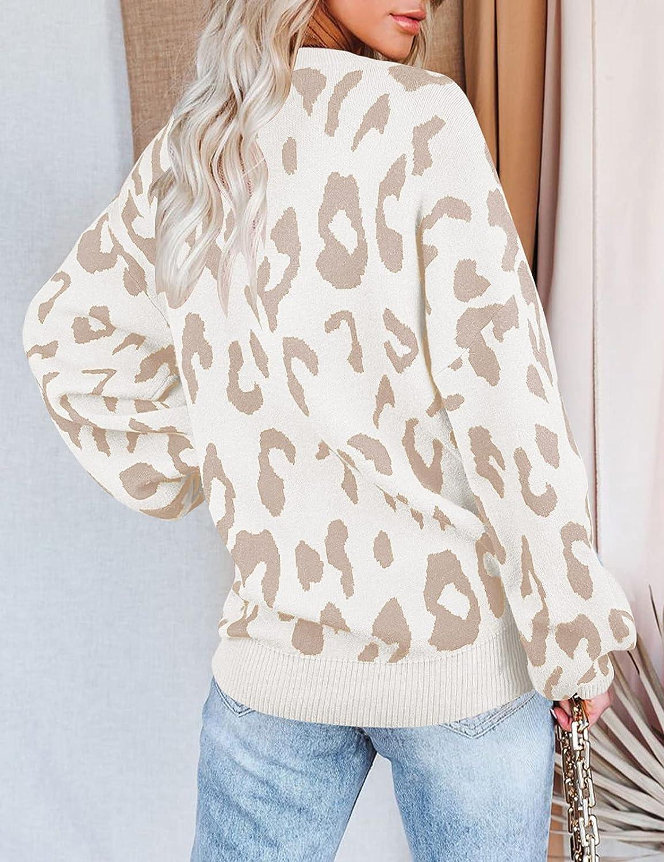 MEROKEETY Women's Crew Neck Leopard Print Balloon Sleeve Knitted Pullover Sweater Tops