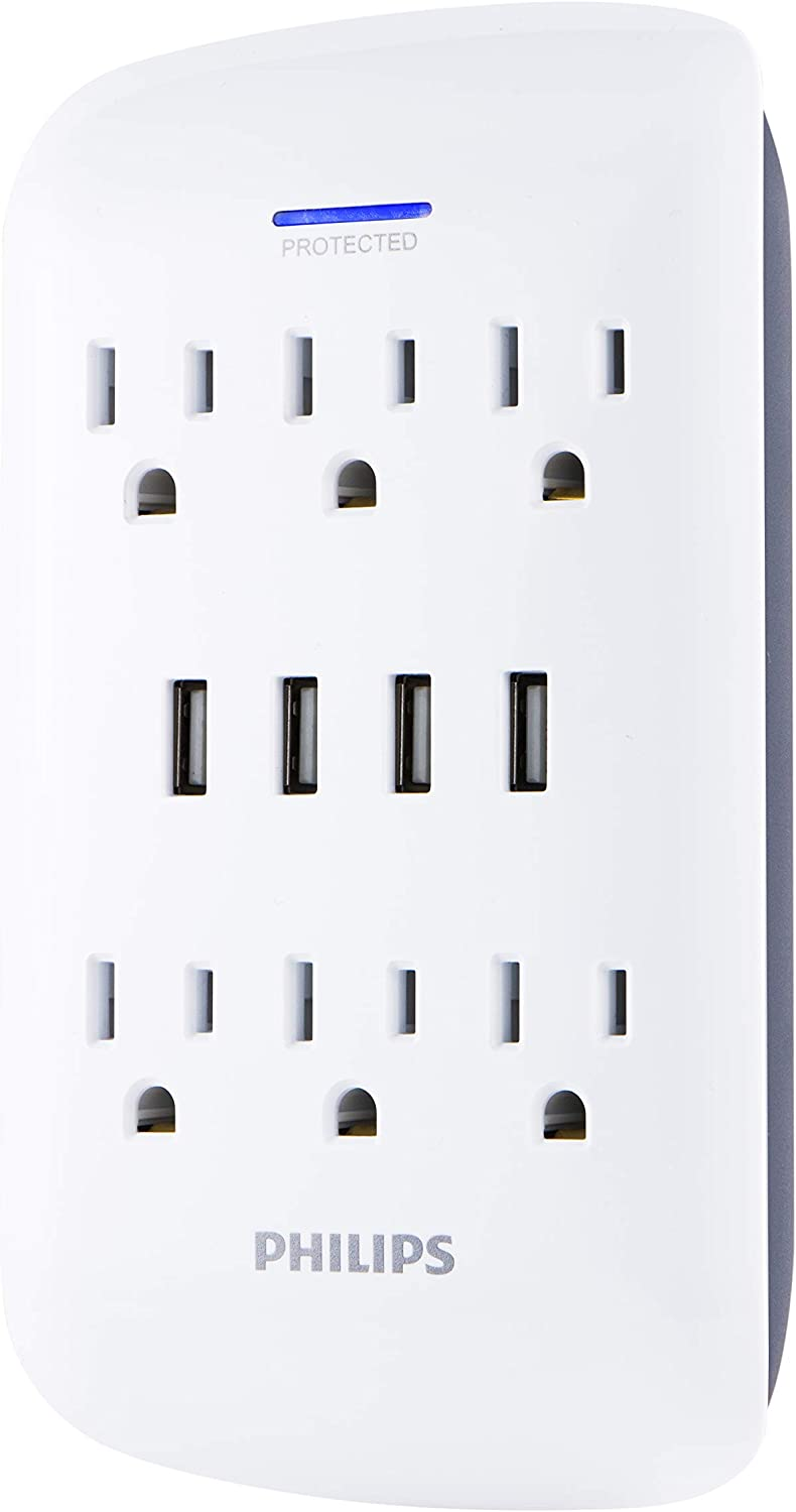 Philips 6-Outlet Extender with 4-USB Port Surge Protector, Charging Station, 900 Joules, Grounded Power Adapter, Indicator Light, 3-Prong, 4.2 AMP/21 Watt, ETL Listed, White, SPP6463WG/37