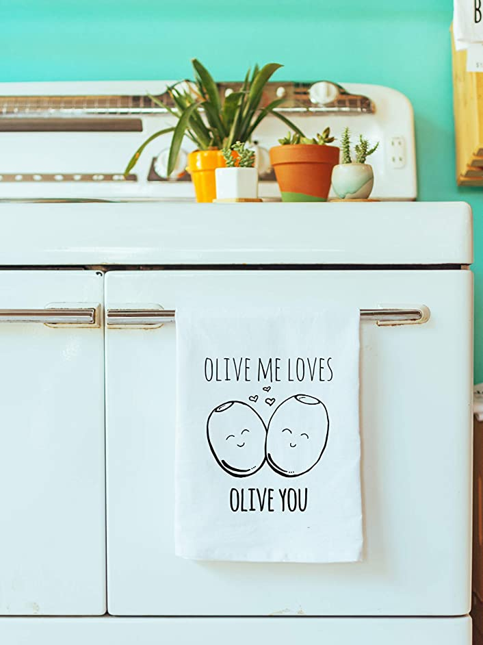 Funny/Sweet Kitchen Cloth ~ Funny Dish Towel ~ Olive Me Loves Olive You, Tea Towel