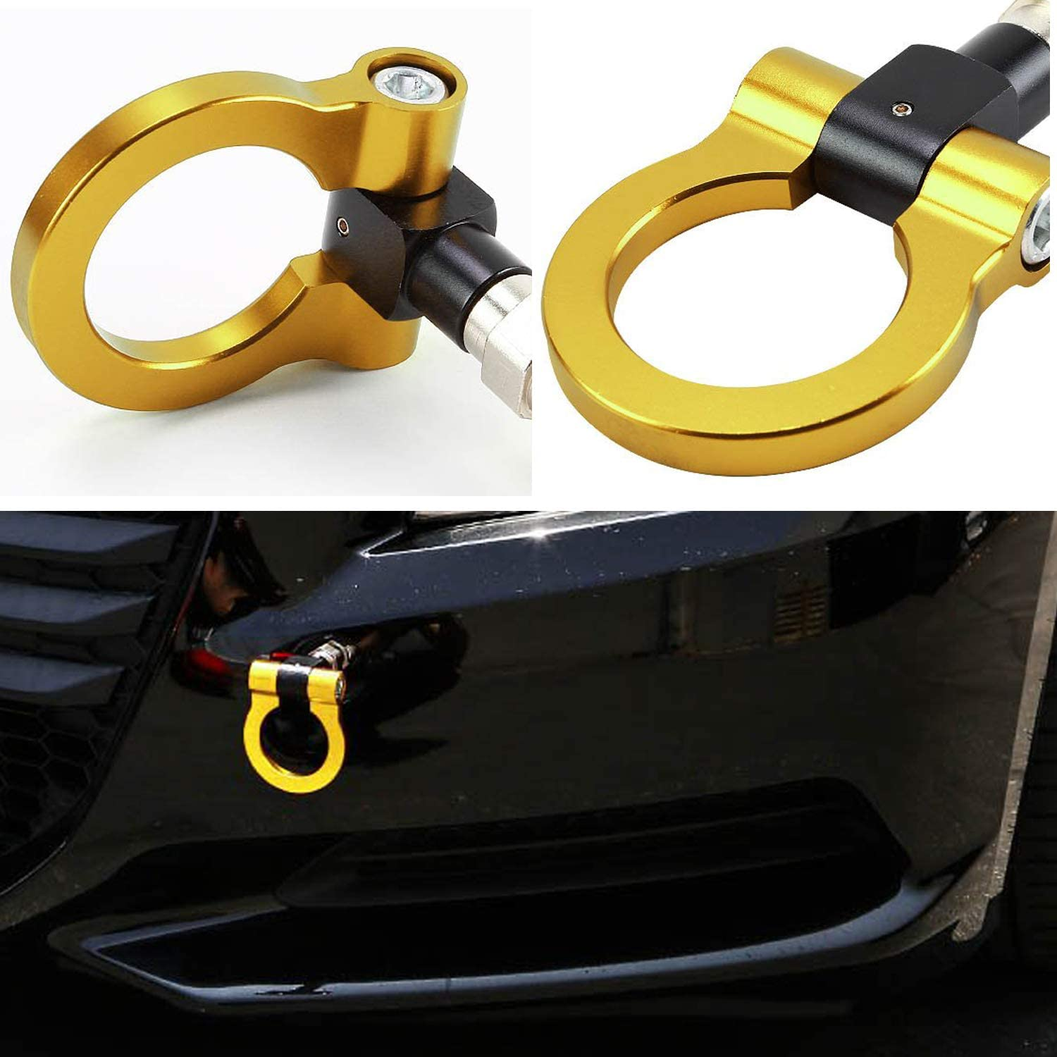 Heart Horse Universal Car Front Bumper Screw-on Tow Hook Aluminum 16mm Tow Hook Front Rear Racing Style for European Cars