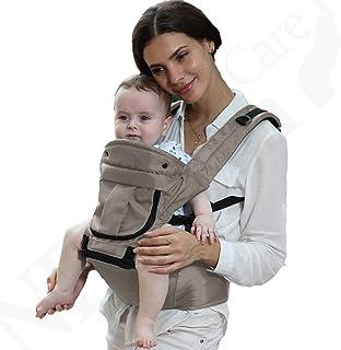 婴儿背带座椅 * 棉 - 口袋和可拆卸的连帽衫/头部支撑 - 可调节和透气 - Neotech Care 品牌 - 适用于婴儿、儿童、学步儿童 - 灰色或蓝色 灰色