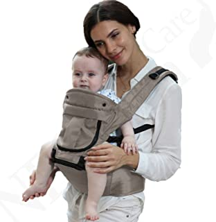 Baby Carrier Hip Seat 100% Cotton - Pocket & Removable Hoodie/Head Support - Adjustable & Breathable - Neotech Care Brand - for Infant, Child, Toddler - Blue