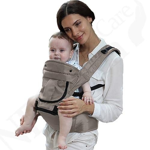 Porte-bébé - 100% coton - Siège à hanches (Hip Seat) + Support à dos + Appui-tête - Ventral, position multiples - Marque Neotech Care - Ajustable - Couleur bleu