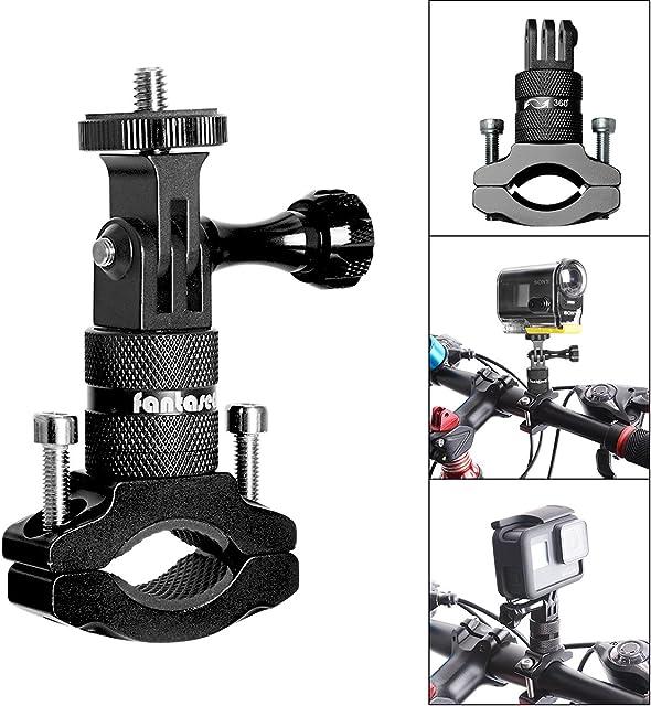 Soporte de cámara de acción para bicicleta adaptador de manillar de aluminio giratorio de 360 grados para GoPro Hero 7/6/5/4/3+/3 Sony Action Cam y otros soportes de cámara deportiva para bicicleta