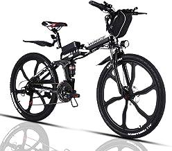 VIVI Bicicleta Electrica Plegable 350W Bicicleta Eléctrica Montaña, Bicicleta Montaña Adulto Bicicleta Electrica Plegable con Rueda Integrada de 26