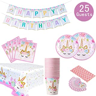 Unicorn Themed Party Supplies Set - Serves 25, Unicorn Birthday Plates, Cups, Napkins, Banner, Straws and Tablecloths, Magical Unciorn Party Decorations for Girls Disposable Unicorn Tableware