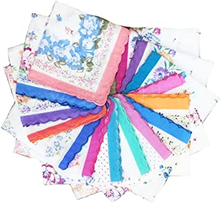 LACS Womens Vintage Floral handkerchiefs mixed Lot Pretty Cotton Hankies