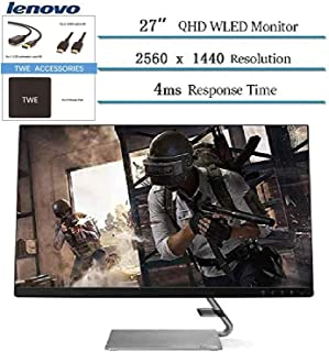"""Lenovo 27"""" QHD 2560 x 1440 LED IPS FreeSync Gaming Monitor, 3W Built-in Speakers, 4ms Response Time, 300 cd/m², HDMI, 100..."""