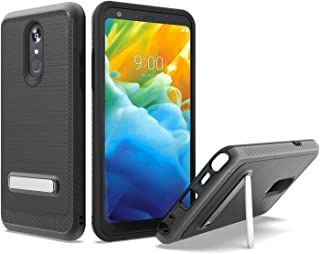 UNC Pro 2 in 1 Cell Phone Case Cover with Kickstand for LG Stylo 5, Brushed Metal Style Hybrid Shockproof Bumper Anti-Scratch, Black