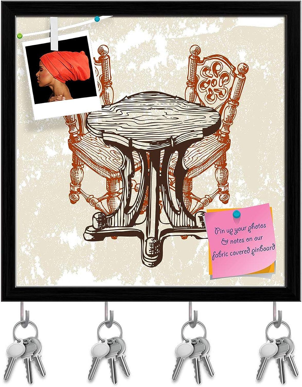 Artzfolio Coffee Shop Key Holder Hooks   Notice Pin Board   Black Frame 20 X 20Inch