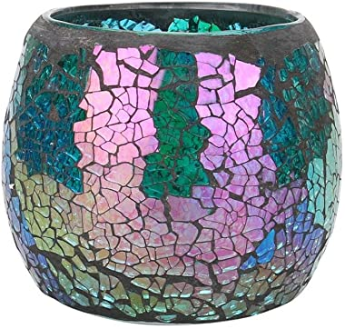 Huikai Mosaic Candle Holders, Candle Holders Handmade Mosaic Glass Candlestick for Home Bedroom Decor Wedding Decor Valentines Gifts (Green 2)