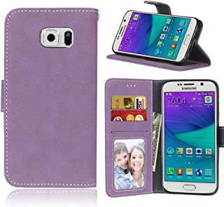 Protective Case Compatible with Samsung Compatible Samsung Galaxy S6 Retro Style Solid Color Premium PU Leather Wallet Case Flip Folio Protective Case Cover with Card Slot/Stand Phone case