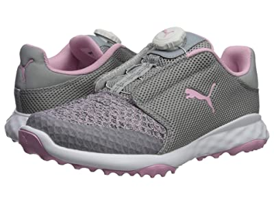 PUMA Golf Grip Fusion Sport Jrs Disc(Little Kid/Big Kid) (Limestone/Lilac Sachet) Golf Shoes