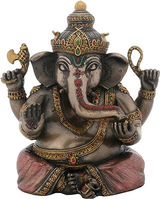 YTC 4.5 Inch Cold Cast Resin Bejeweled Hindu Deity Sitting Ganesha Statue