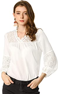 Allegra K Women's Crochet Lace Floral Peasant Blouse Top Patchwork V Neck Long Puff Sleeve Shirt