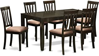 East West Furniture 7-Piece Formal Dining Table Set, Cappuccino Finish
