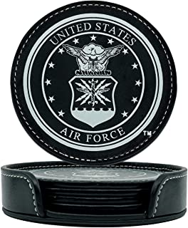 Military Gift Shop Air Force Coasters Set - 4 USA Drink Coasters for Home, Bar, Office or Car (Air Force)