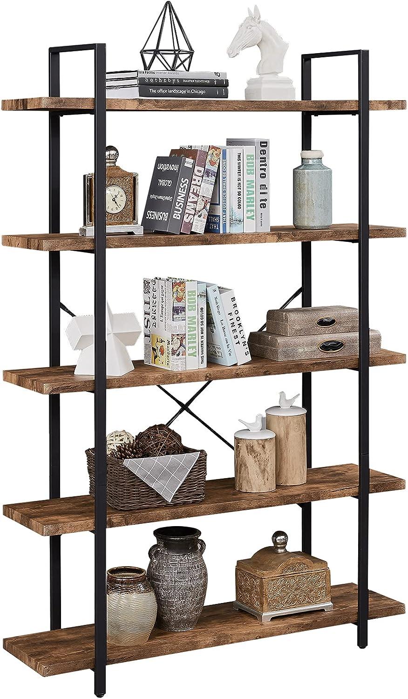 Finally popular brand SUPERJARE 5-Shelf Industrial Bookshelf Open Etagere Popular overseas Bookcase wi