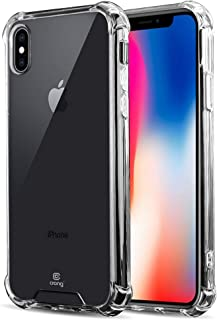 Crong Hybrid Protect Anti-Shock Case Compatible with Qi Wireless Charging for iPhone Xs/X - Transparent