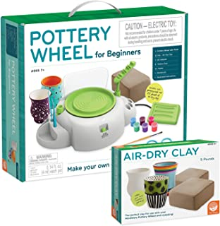 MindWare Pottery Wheel for Kids and Beginners with Air-Dry Clay Refill – Great for..