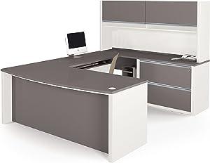 Bestar Connexion U-Shaped Workstation Kit Including Assembled Oversized Pedestal, Slate/Sandstone