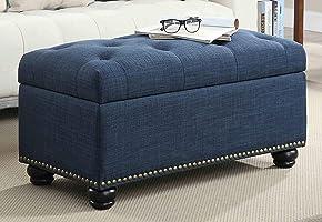 "BLACK OAK 35"" Tufted Rectangle Storage Ottoman Pouffes Footrest Stool with 4 Wooden Legs (Blue, Standard)"