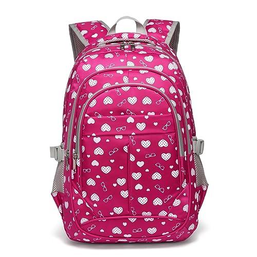 a3348018b421f Hearts Print School Backpacks For Girls Kids Elementary School Bags Bookbag