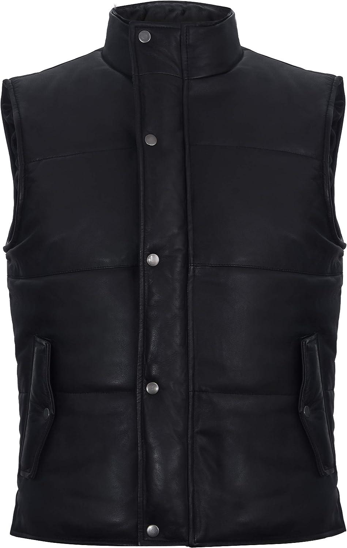 Men's Black Leather Puffer Padded Vest Waistcoat