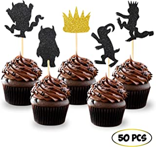 50PCS Glitter Where the Wild Things Are Inspired Cupcake Toppers Wild One Birthday Party Decorations
